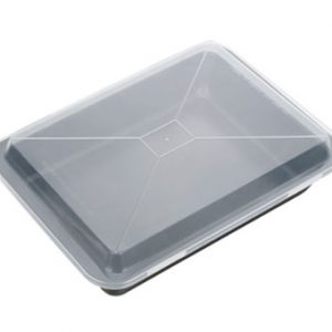 Hluboké plechy - Plech na pečení hluboký s plastovým poklopem DELÍCIA 36x25 cm