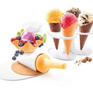 Příprava zmrzliny - Souprava na zmrzlinové kornouty a košíčky DELLA CASA